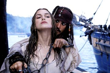 Keira Knightley and Johnny Depp in Pirates of the Caribbean : The Curse of the Black Pearl