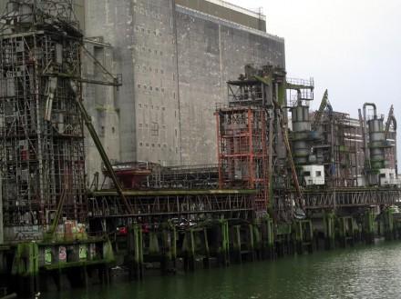 disused grain silos on the Maas