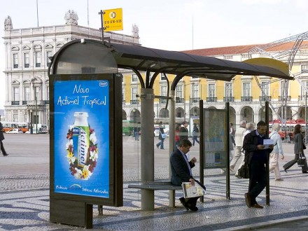 a typical Cemusa bus-shelter in downtown Lisbon