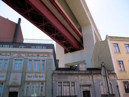 25th of April Bridge seen from a neighbourhood between Belem and Lisbon